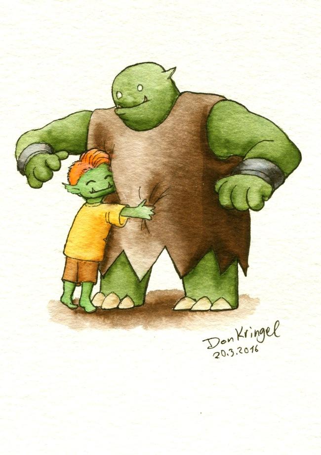 Der Orkpapa und sein Sohn, gezeichnet von Don Kringel